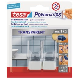 1223547 - Power Strips transparent Haken weiss L