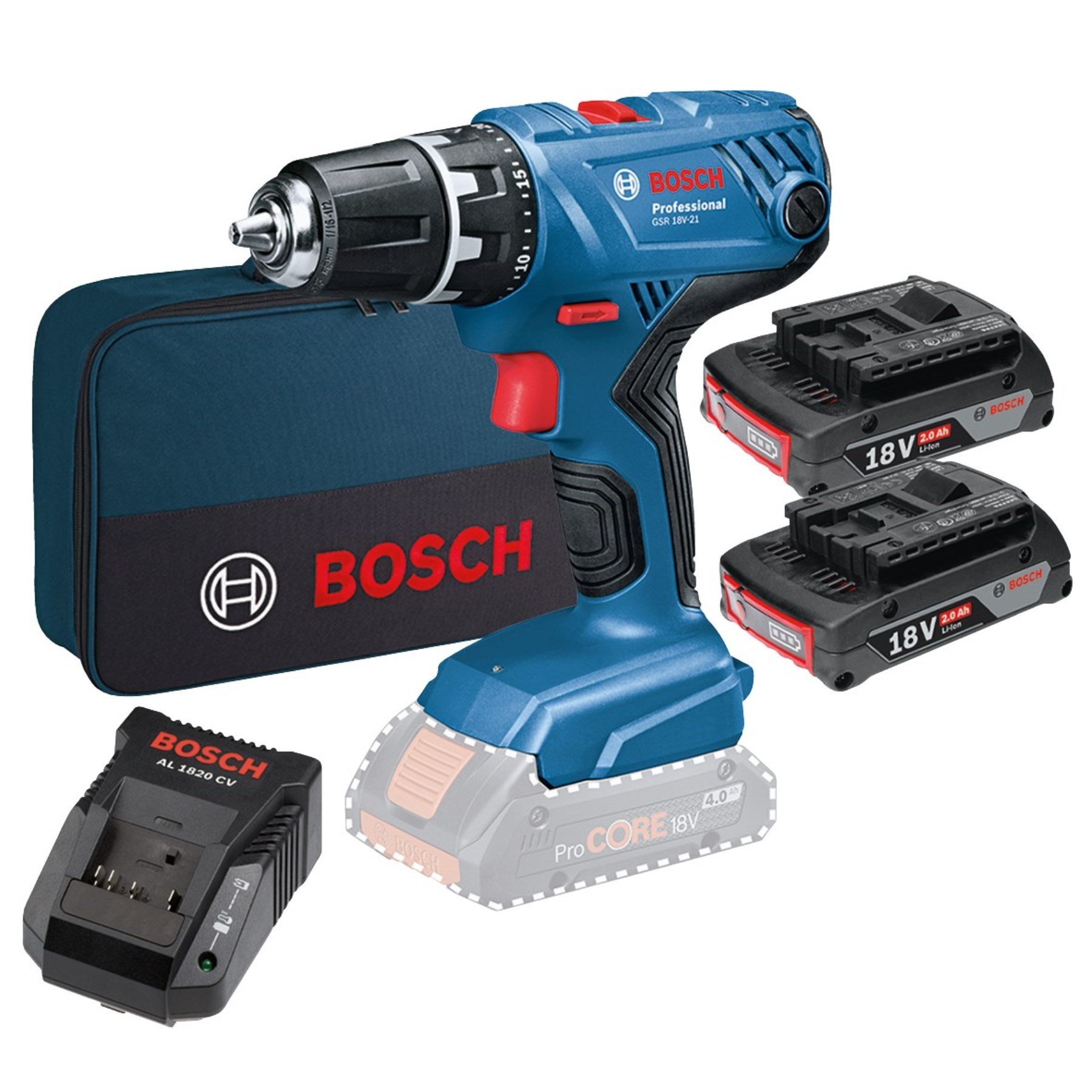 Bosch Akku Bohrschrauber GSR 18V 21 2x2,0 Ah (1259079