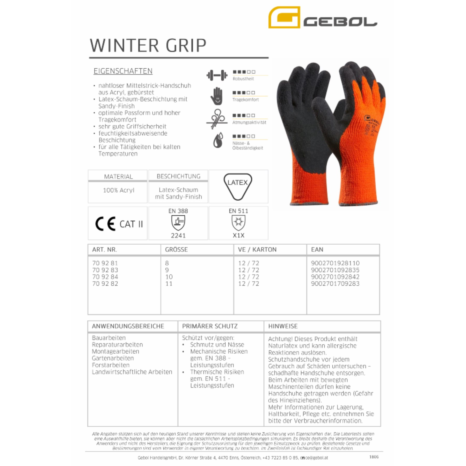 1214513 - Arbeitshandschuh Winter Grip