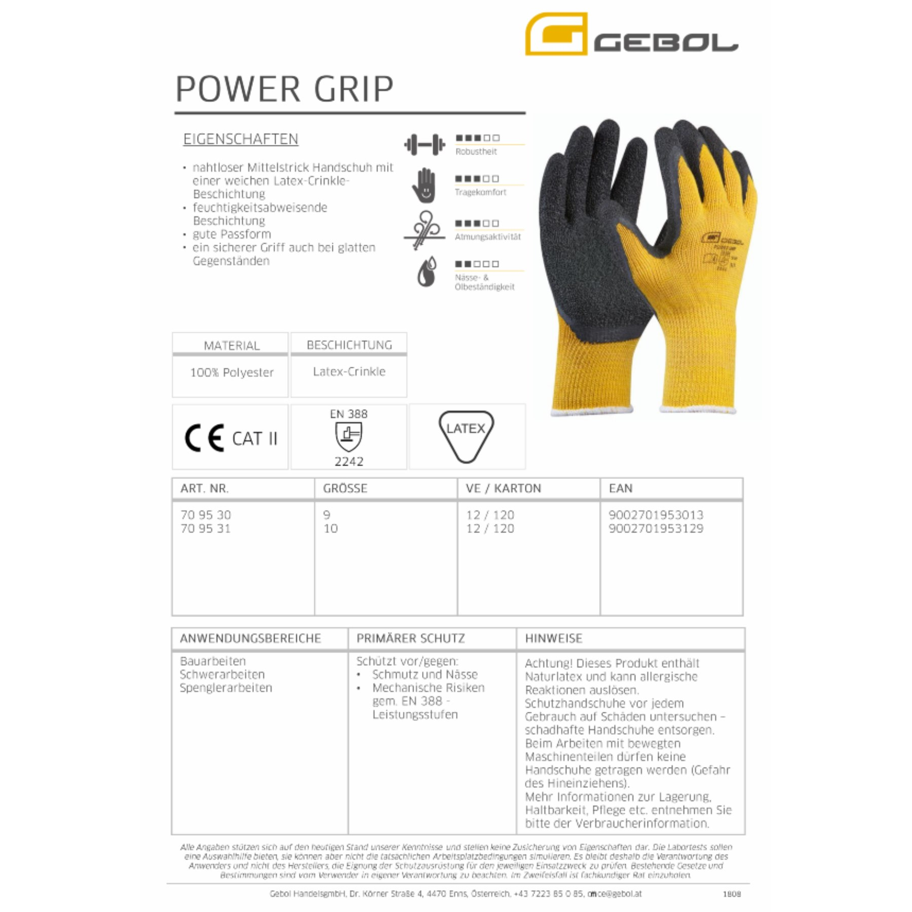 1236809 - Arbeitshandschuh Power Grip