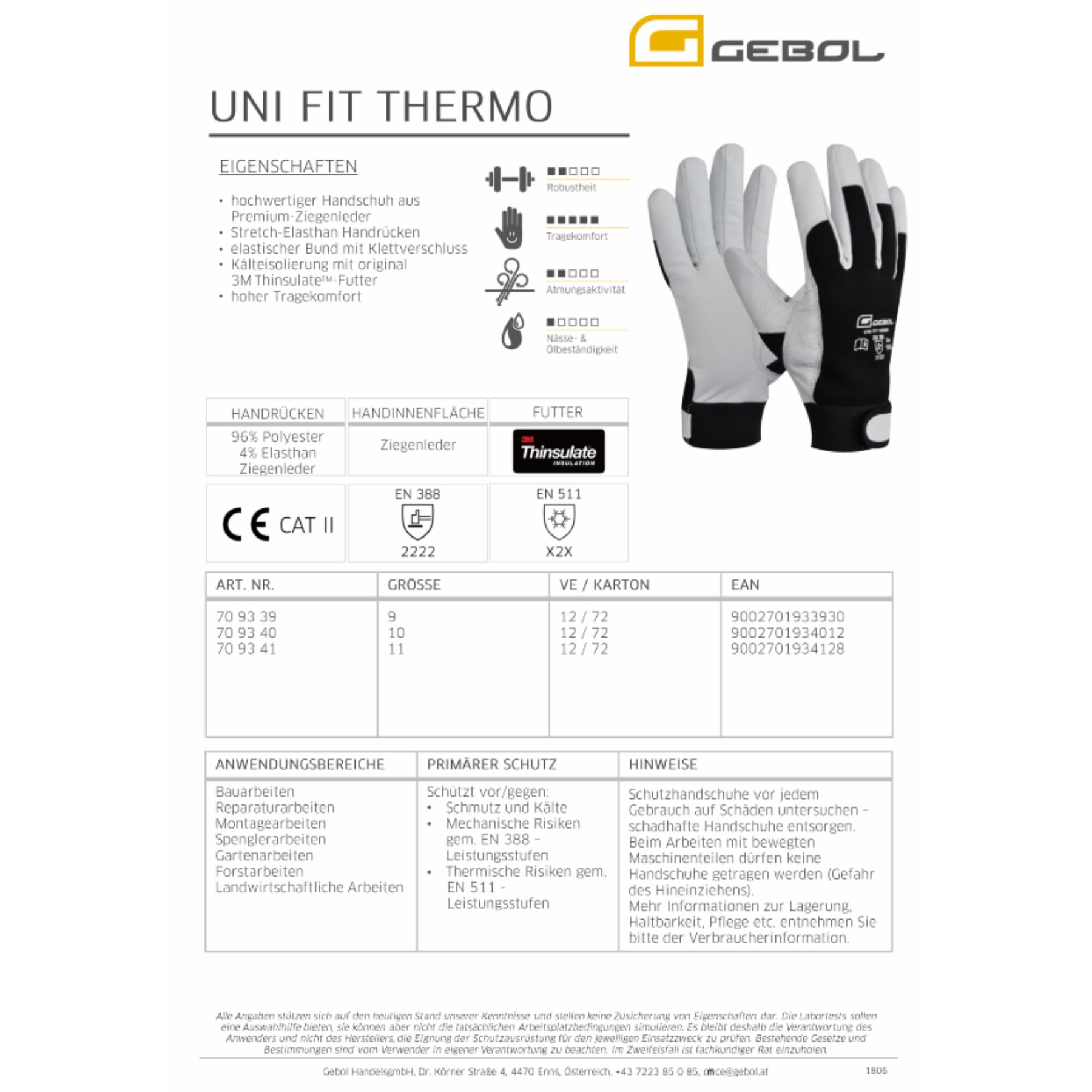 1236804 - Arbeitshandschuh Thermo Uni Fit